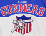 The St. Louis Gunners' team colors were red, white, and blue.