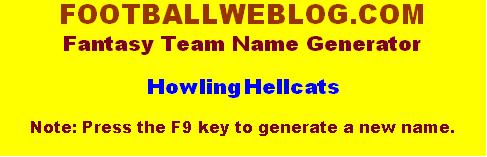 Figure 1 - The Fantasy Football Team Name Generator interface
