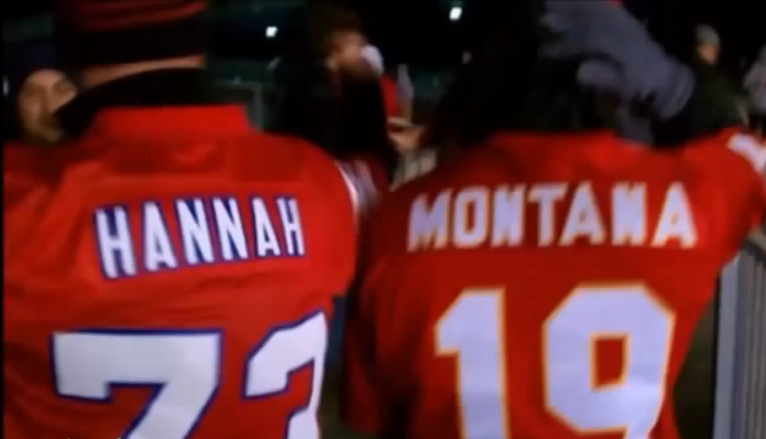 It twerks well when the jersey for Patriots guard John Hannah is placed next to the jersey of Niners quarterback Joe Montana.