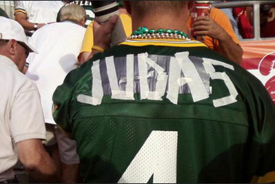 A Brett Favre Packer jersey lovingly retouched by a testy Cheese Head after Favre opted to play for the division rival Vikings.