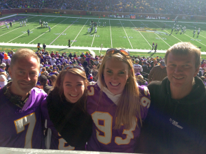 At the game with (L to R) my daughter Amy, her friend Jessica, and Jessica's dad Kevin