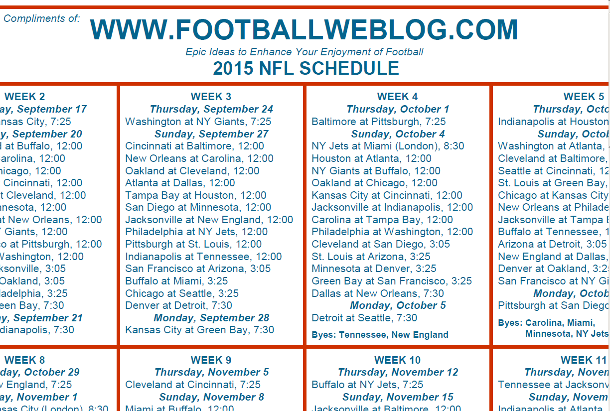 image about Printable Nfl Week 2 Schedule identify nfl routine just one site