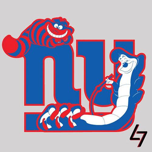ak47_studios Disney x NFL series - New York Cheshire Cat and Hookah Smoking Caterpillar