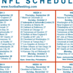 Dashing image inside printable one page nfl schedule