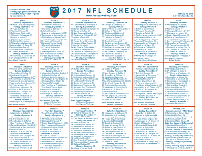 Dramatic image pertaining to printable one page nfl schedule