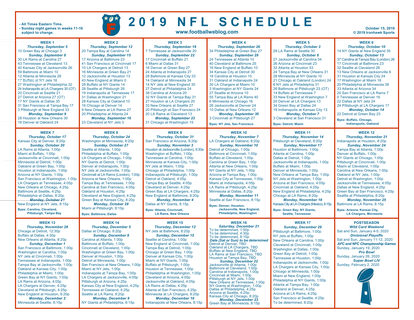One Page 2019 Nfl Schedule Updated With Week 6 Scores Football Weblog