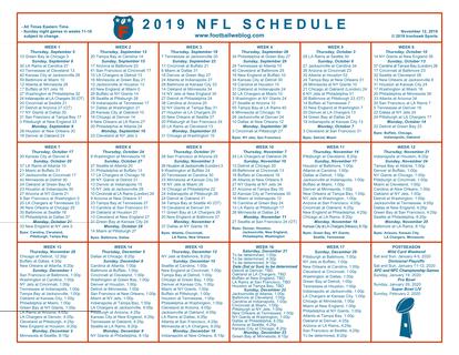 It is an image of Nfl Week 12 Printable Schedule with regular season